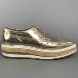 PRADA Size 10 Gold Metallic Leather Platform Lace Up Shoes