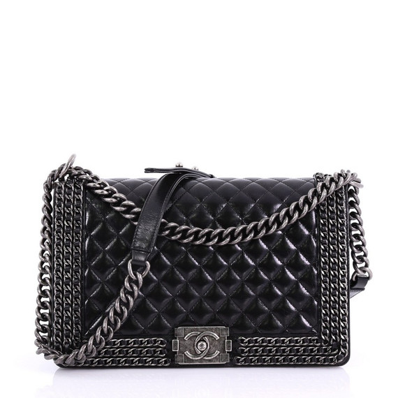 Chained Boy Flap Bag Quilted Glazed Calfskin New Medium