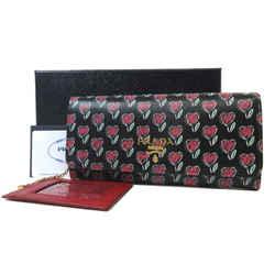 Prada Womens Black Love Hearts Vitello Move Leather Snap Long Wallet 1mh132