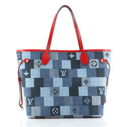 Neverfull Tote Damier and Monogram Patchwork Denim MM