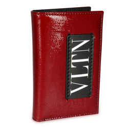 Valentino Maroon & Black VLTN Card Holder