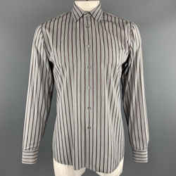 Prada Size L Gray Brown Green & Purple Stripe Cotton  Long Sleeve Shirt