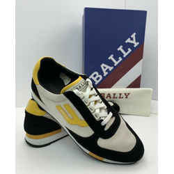 BALLY Gavino Retro Men's Running Sneakers Shoes Black Suede Yellow sz 11D  B138