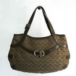 Anya Hindmarch Ribbon Pattern Women's Canvas,Leather Handbag Gold,Gray, BF518665