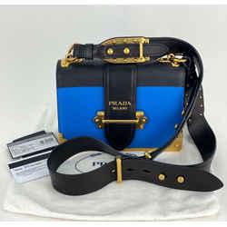 PRADA Cahier City 1BD045 Blue/Black Calfskin Saffiano Shoulder Bag B340 Authent
