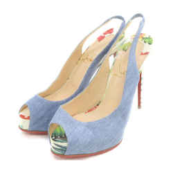 Christian Louboutin Peep-Toe Denim Heels with Floral Print Sandals Mules Platforms 863224