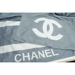 Authentic Chanel Comforter Duvet Cover Pillow Case Queen / King CC Logo Gray HTF