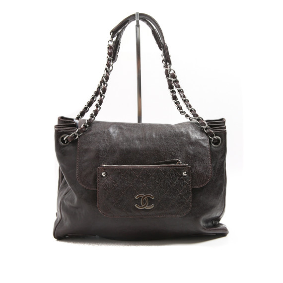 Chanel Espresso Brown Caviar Leather Double Pocket Bag