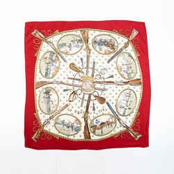 Hermes La Chasse a Tir Scarf Red Multicolor Silk