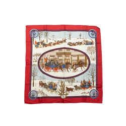 Red & Multicolor Hermes 'L'Hiver en Poste' Silk Scarf