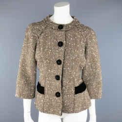 Marc Jacobs Size 4 Light Brown & Cream Wool Tweed & Black Velvet Jacket