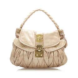 Brown Miu Miu Coffer Leather Shoulder Bag