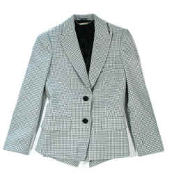 Alexander Mcqueen - Houndstooth Blazer Jacket Peplum Coat - Blue Black Us 8 - 40
