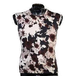 New Versace Floral Military Print Sleeveless Ribbed Knit T-shirt  Sz M