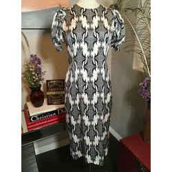 Thomas Wylde Size L Black & White Stretch Satin Sheath Dress 2198-7-3520