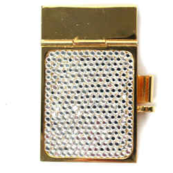 Judith Leiber - Notebook - Mini Rhinestone & Gold Crystal Silver Notepad