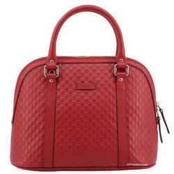 New Gucci Red Leather Medium Convertible Micro Gg Guccissima Dome Satchel Shoulder Bag