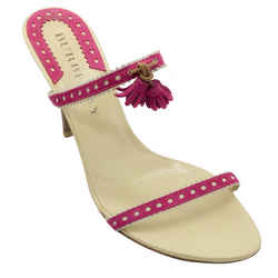 Burberry Beige and Pink Suede Trim with Tassel Sandals