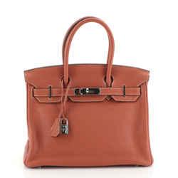 Birkin Handbag Sanguine Clemence with Palladium Hardware 30