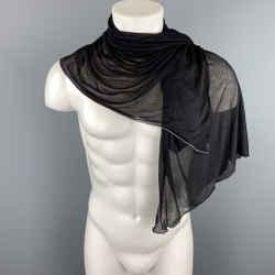 ALEXANDER MCQUEEN Black & Gray Trim Silk Scarf