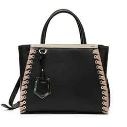 Fendi Shopping Bag 2 Jours Calf Leather Black Pink Lace Up Trim Satchel Tote 8bh253