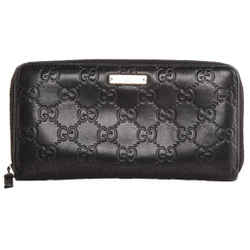 Gucci Signature Guccissima Embossed Leather Zip Around Wallet