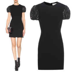 38 NEW $2990 SAINT LAURENT Black Wool SEQUIN PUFF SLEEVES Fitted Evening DRESS