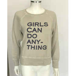 "Zadig & Voltaire ""girls Can Do Anything"" Taupe Distressed Sweatshirt Sz Small"