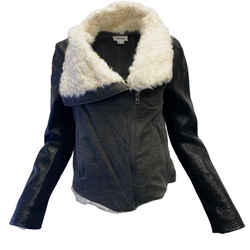 Helmut Lang Grey and Black Leather with Shearling Jacket