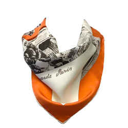 Hermes Orange and Ivory Regarde Paris Triangle Silk Scarf