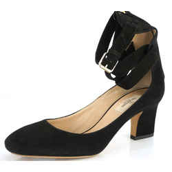 Valentino Plum Ankle Wrap Block Heel Sandal Sz 38 Black Suede $995 Nib