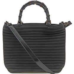 Auth Gucci Black Bamboo Nylon 2way Tote Bag Italy Vintage W/shoulder Strap 1705