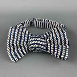 Charvet Navy White Rope Print Silk Bow Tie