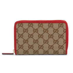 New Gucci Women's Red Brown Gg Guccissima Canvas Zip Around Wallet Clutch