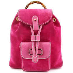 Authentic Gucci Pink Suede Bamboo Mini Backpack Italy