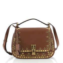 Joy Lock Saddle Bag Mosaic Studded Leather
