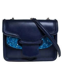 Alexander McQueen Blue Leather Crystal Lucite Heroine Shoulder Bag