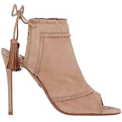 Aquazzura Colorado Back Tie Tan Suede Ankle Bootie Sandal Shoes Heels Size 8 38
