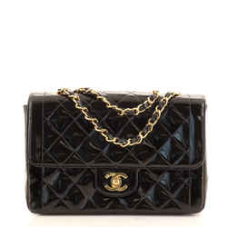 Vintage CC Chain Flap Bag Quilted Patent Small