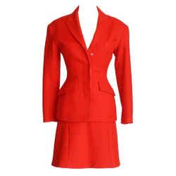 Vintage Lipstick Red Skirt Suit