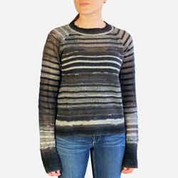 Striped Light Weight Sheer Wool Knit Sweater