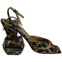 Dolce&Gabbana Brown Animal Print Sling Back Sandals Size: EU 38 (Approx. US 8) Regular (M, B) Item #: 2372652