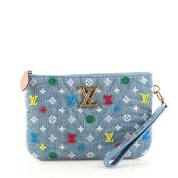New Wave Zipped Pochette Monogram Embroidered Quilted Denim
