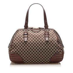 Vintage Authentic Celine Brown Dark Brown Velour Fabric Macadam Handbag Italy