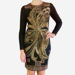 Black Long-sleeve Embellished Knee-length Dress