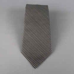 Dior Homme Black & Silver Diagonal Stripe Silk Tie