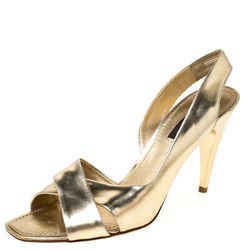 Louis Vuitton Gold Patent Leather Barbara Criss Cross Slingback Sandals Size