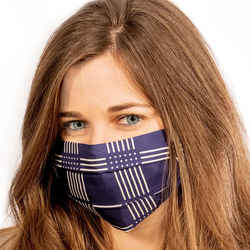 LORO PIANA Vintage Dots & Stripes Silk Scarf Face Mask