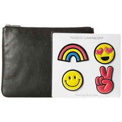 NEW Rebecca Minkoff Black Clutch and Emoji Sticker Set