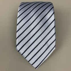 ERMENEGILDO ZEGNA Light Blue & Navy Stripe Silk Tie
